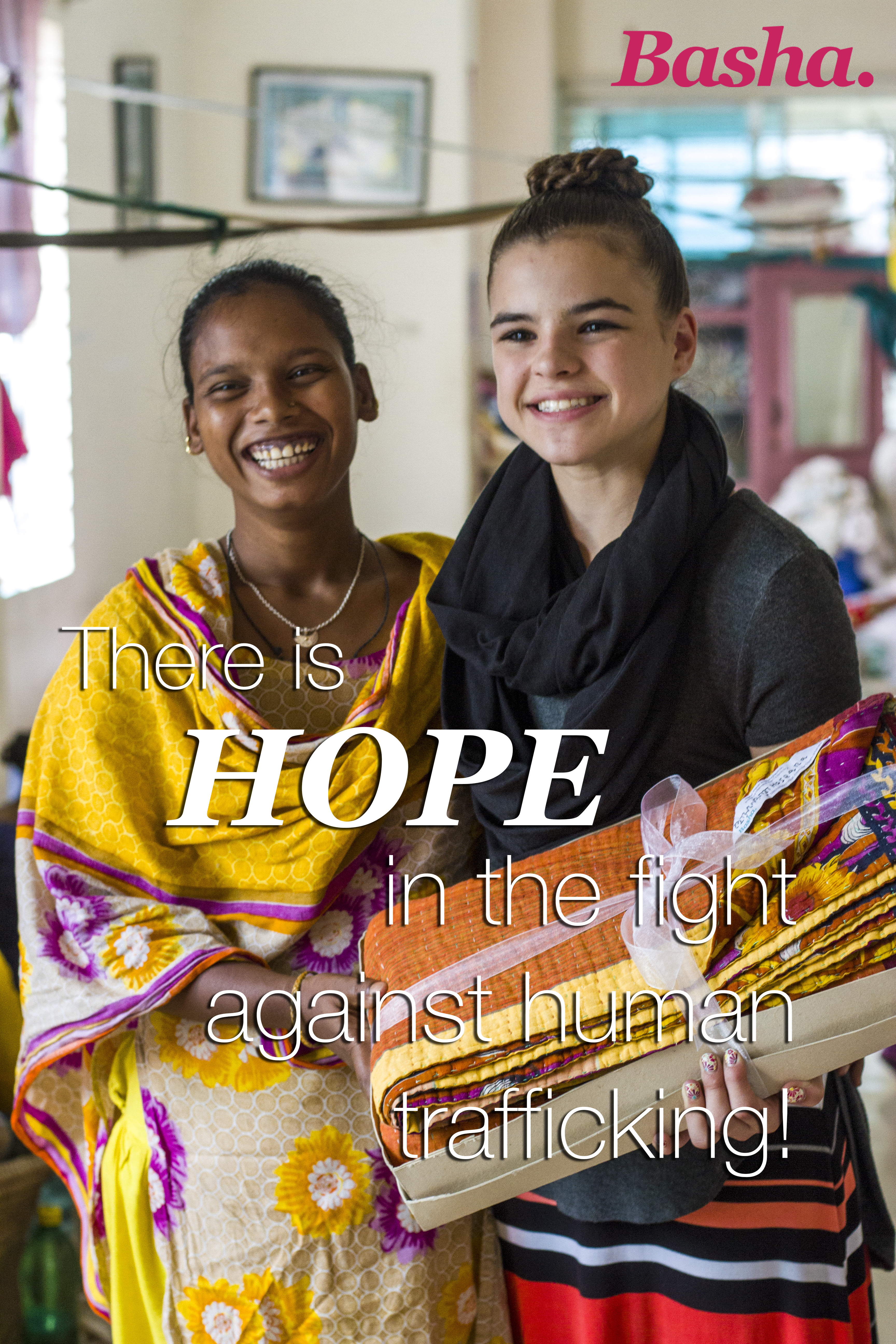 Photo of Basha artisan with customer and words There is hope in the fight against human trafficking!