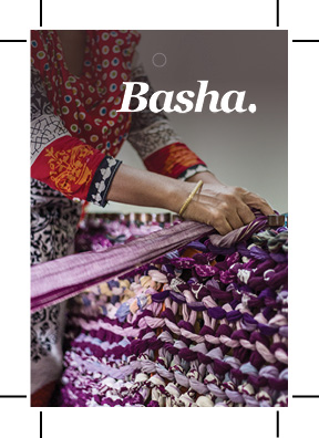 Swing tag front for Basha Cotton Chunky Knit Blanket