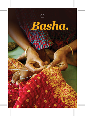 Swing tag front for Basha Luxe Kantha Blanket