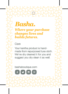 Swing tag back for Basha Luxe Kantha Blanket