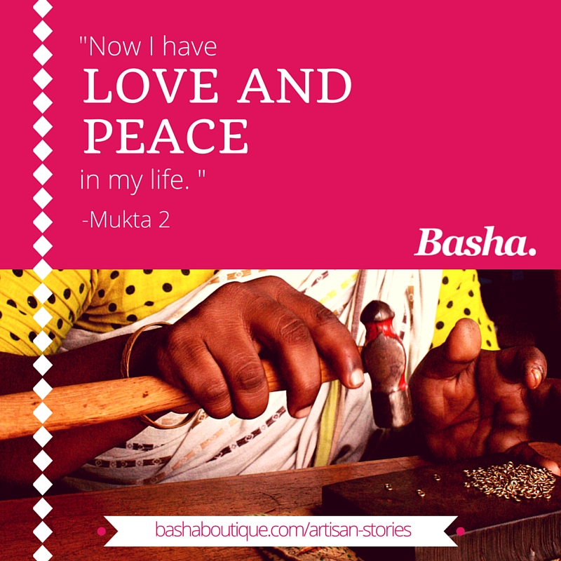 Graphic design image with quote Now I have love and peace in my life. - Mukta 2