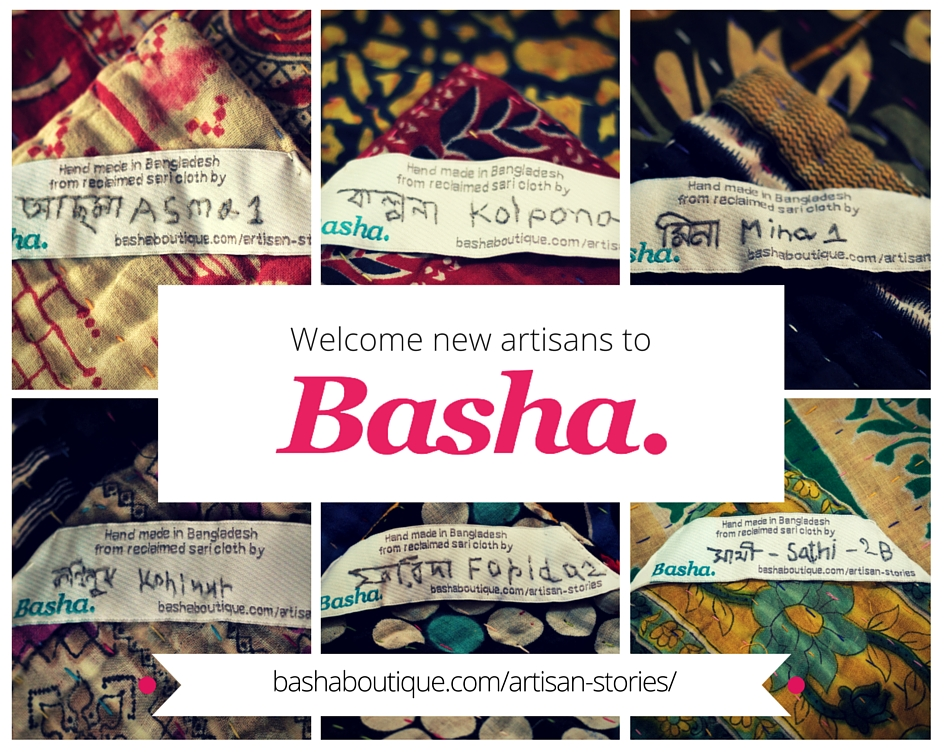 Collage of Basha kantha blanket name labels with artisan name.
