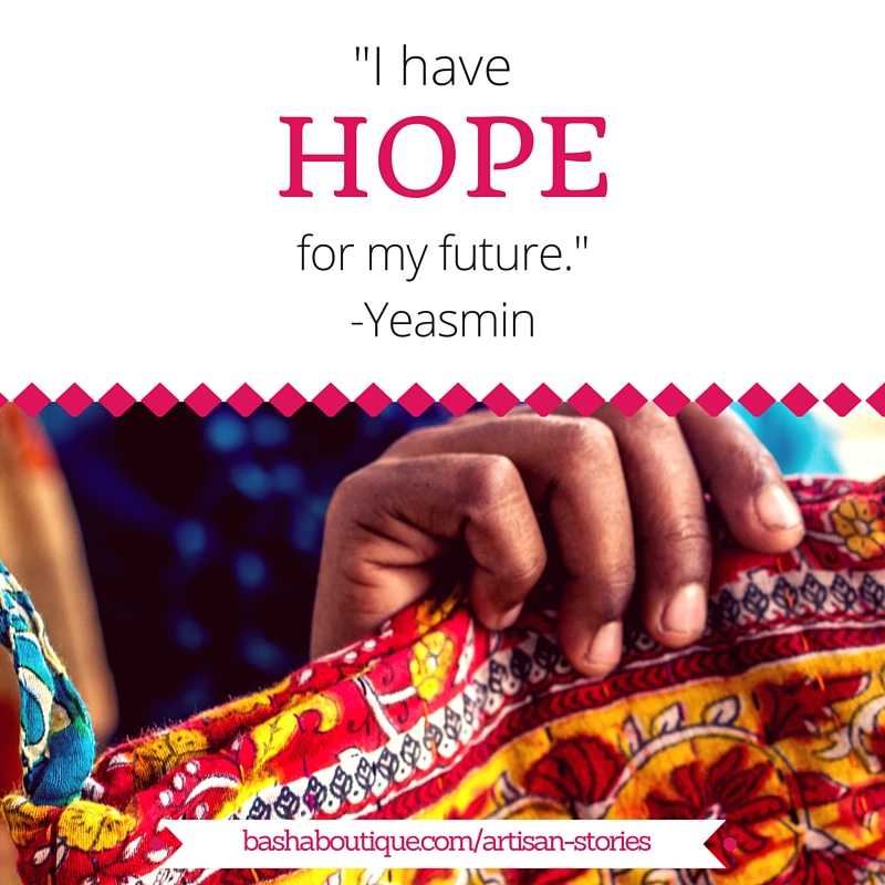 Graphic design image with quote I have hope for my future. - Yeasmin