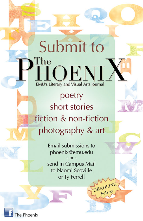 Poster designed by Karla Hovde for The Phoenix Literary and Visual Arts Journal Call for Submissions